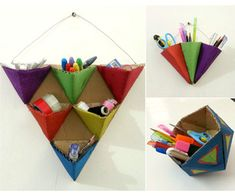 DIY Geometric Organizers Crafted from Recycled Cardboard