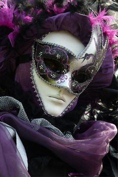 Purple-black-white-silver Venetian mask. Another full-facer. Would you ever consider wearing one?