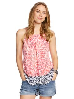 Pleated High Neck Cami