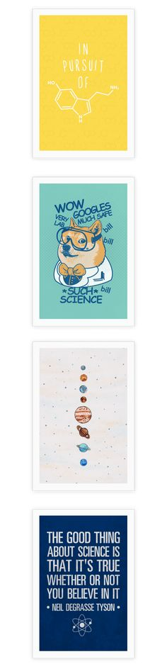 These cool science posters are perfect for your apartment or dorm room.