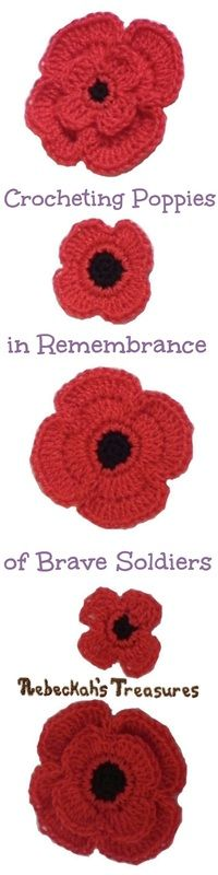 Rebeckah's Treasures: Crochet Remembrance Poppies ~ Free Pattern with 5 different styles. US terms.