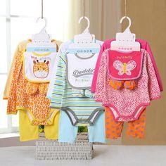 Roupas de bebê Define 5 Pçs/lote (2 Peças Romper + Calça + Babador + Sapatos) para o Presente Do Bebê Recém nascido Definir 100% Algodão Roupas Infantis em Conjuntos de roupas de Mãe & Kids no AliExpress.com | Alibaba Group