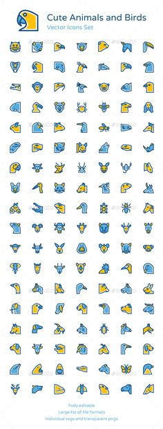 125+ Animals and Birds Vector Icons