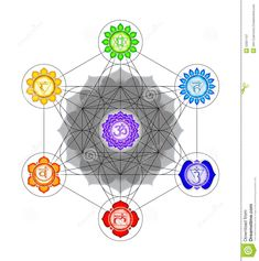 Illustration about Illustration of a metatron`s cube and chakras.  Illustration of symbol 77ec05d7e5fc5