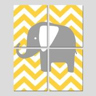 yellow and grey cheveron bedding | Quad - Set of Four 8x10 Prints - Chevron Elephant - Yellow, Gray ...