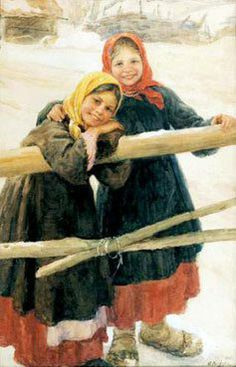 Children In Wintertime  by  Fedot Vasilievich Sychkov (1870 – 1958, Russian)