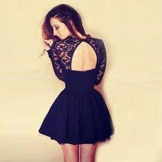 90269abebaabc A-Line Jewel Keyhole Open Back Little Black Dress with Lace