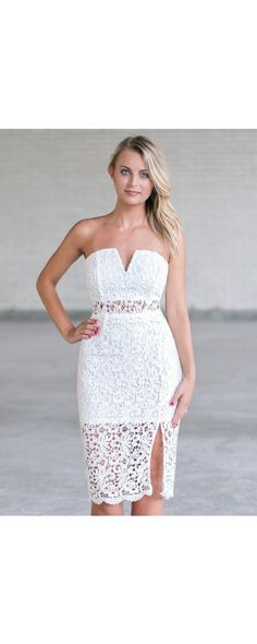 You'll love this cute white lace strapless midi dress. This is the perfect white dress to wear to your bachelorette party or rehearsal dinner. Strapless Midi Dress, Strapless Cocktail Dresses, Lace Midi Dress, Lace Dresses, Cute Country Dresses, White Bachelorette Party Dress, Boho Outfits, Dress Outfits, Fashion Dresses