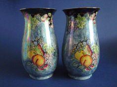 Royal Winton 'Fruit' Blue Lustre Vases c1925