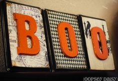 Love these wood blocks with scrapbook paper and letters!