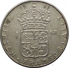 1961 SWEDEN King GUSTAV VI ADOLF Krona Silver SWEDISH Coin Coat of Arms i56597