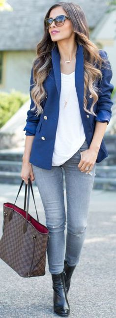 Blue School Uniform Blazer White V-neck Tee Grey Jeans Black Booties Fall Inspo