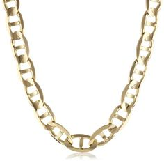 """Men's 14k Yellow Gold 7.5mm Mariner Chain Necklace, 24"""""""