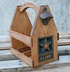 U.S. Army Wooden Beer Tote   Beer Carrier  Six Pack by MVwoodworks, $55.00  https://www.etsy.com/listing/176148104/us-army-wooden-beer-tote-beer-carrier?ref=related-0&is_wholesale=0