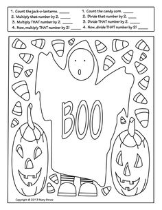 """Ghost Boy"" is part of a four page set of printables perfect for the holiday.  This activity reinforces counting and simple multiplication and division."