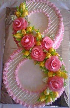 New Birthday Flowers Cake Desserts Ideas Cake Icing, Buttercream Cake, Fondant Cakes, Cake Decorating Techniques, Cake Decorating Tips, Cupcake Birthday Cake, Cupcake Cakes, 60th Birthday, Number Birthday Cakes