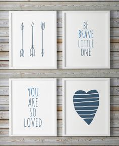 Nursery Wall Art You Are So Loved Set of 4 by WhitePrintDesign