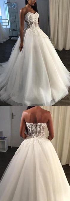 A-Line Sweetheart Sweep Train Tulle Appliques Wedding Dress by MeetBeauty, $205.64 USD