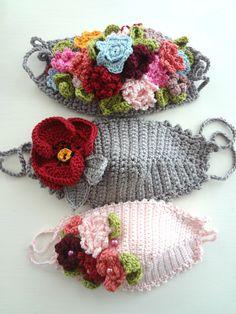 Little Treasures: Bohemian Flower Masks - crochet pattern Crochet Mask, Knit Crochet, Half Double Crochet, Single Crochet, Flower Patterns, Crochet Patterns, Bohemian Flowers, Pocket Pattern, Diy Mask