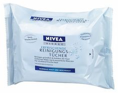 Nivea Cleansing Wipes Normal Skin 25 wipes by Nivea.  Nivea Visage Refreshing Facial Cleansing Wipes thoroughly cleanse and moisturise your face, neck and eye area in one convenient step.