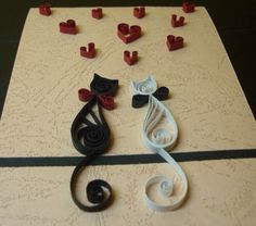 Quill art white black cats