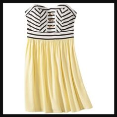 New Canary Yellow Striped Strapless Dress!  New without tags. Absolutely adorable! Xhilaration Dresses Strapless
