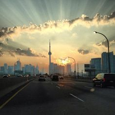 View of the Tower from the Gardiner Expressway. A beautiful entry to the CN Tower Summer Photo Challenge taken by Nick Z. from Toronto Ontario