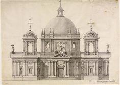 [Proyecto de fachada para una iglesia]. Rodríguez, Ventura 1717-1785 — Dibujo — 1745-1748