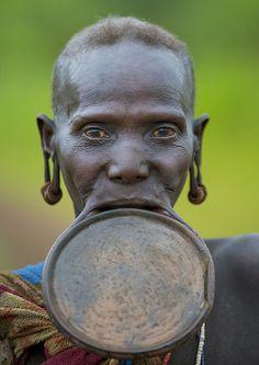 Portrait Of A Suri Old Woman With Big Lip Plate, Kibish,Omo valley Ethiopia