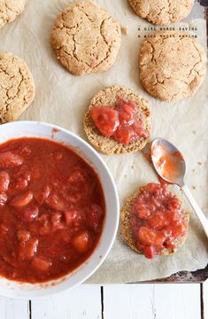 A Paleo Strawberry Rhubarb Shortcake recipe made with stewed strawberries and rhubarb and a luscious grain-free shortcake.