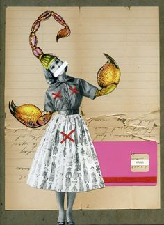 Handmade Vintage Scorpion Woman Collage by Kayleigh McGillivray