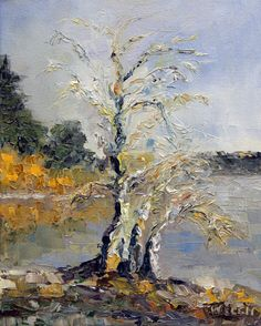 """""""Pear Trees in Winter First Light"""" oil painting by Terrill Welch. Sold"""