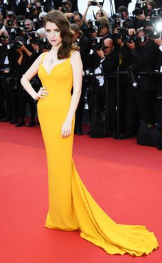 Anna Kendrick from Cannes 2016: Best Dressed Stars  The Trolls actress is the picture of Riviera-chic in this sunflower-yellow gown.
