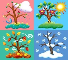 en ingles Four Seasons Tree Counted Cross Stitch Pattern Pre K Lesson Plans, Kindergarten Lesson Plans, Weather For Kids, Cold Weather, Month Weather, Art For Kids, Crafts For Kids, Seasons Activities, Children Activities