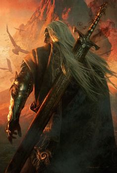 An epic pic of Drizzt hauling the magical sword Charon's Claw
