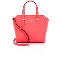 Kate Spade New York Small Hayden Bag ($300) ❤ liked on Polyvore featuring bags, handbags, flo geranium, genuine leather purse, leather satchel purse, red satchel purse, kate spade and kate spade handbag