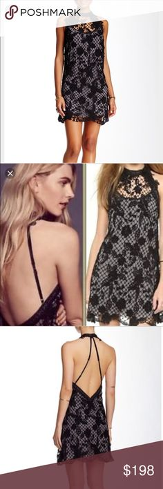 Brand new free people snow lace trapeze dress New with tags gorgeous black and grey lace dress Free People Dresses