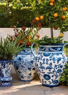 Pretty blue and white planters
