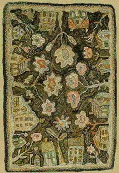 Houses and flowers hooked rug