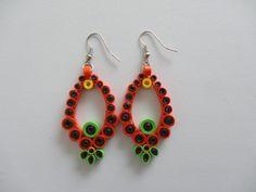 Orange paper quilled earrings.