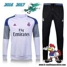 La Liga : Survetement Foot Real Madrid Blanc + Pantalon Noir 2016 2017 - Homme Kits Pas Chere