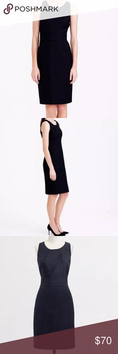 NWT J. Crew Emmaleigh Black Dress Perfectly tailored silhouette in J. Crew signature four-season dress features:  Super 120s merino wool. Back zip. Off-seam pockets. Back vent. Lined. J. Crew Dresses