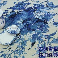 新青花瓷棉麻印花布料 亚麻棉布  服装面料 桌布  蓝色水墨牡丹花