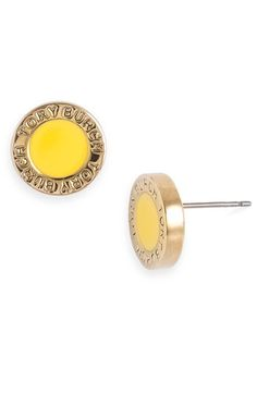 tory burch cole enamel studs in sunshine yellow - reminds me of marc by marc jacobs