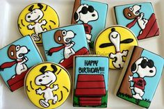 Peanuts / Snoopy Cookies~             Unknown source, blue, yellow, white