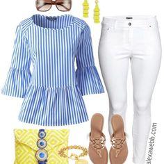 Plus Size Striped Peplum Top Outfit - Plus Size Spring Outfit Idea - Plus Size Fashion for Women - alexawebb.com #alexawebb #plussize#WomenFashion