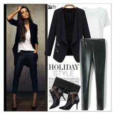"""""""Holiday Style: Leather Pants"""" by water-polo ❤ liked on Polyvore featuring Majestic Filatures, Sheinside, polyvoreeditorial and waterpolo"""
