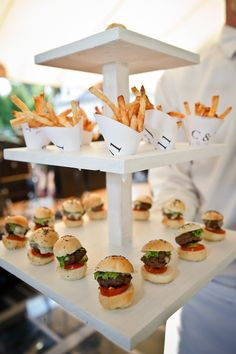 A nice way to serve burger sliders and fries.