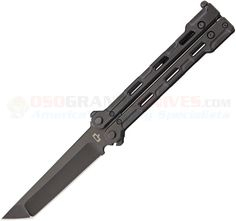 Quartermaster QBS1LT Marty McFly Butterfly Knife (4 Inch Black Limo Tint) QTRM5TR USA | OsoGrandeKnives