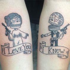 Day of the Dead Han & Leia tattooed by Matt Stankis, original artwork by…